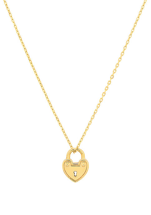 Heart Lock Necklace In 10k Yellow Gold