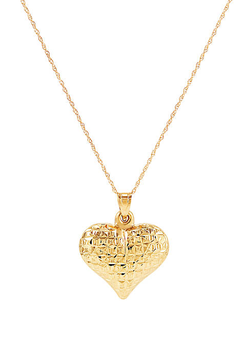 Heart Pendant Necklace in 10k Yellow Gold