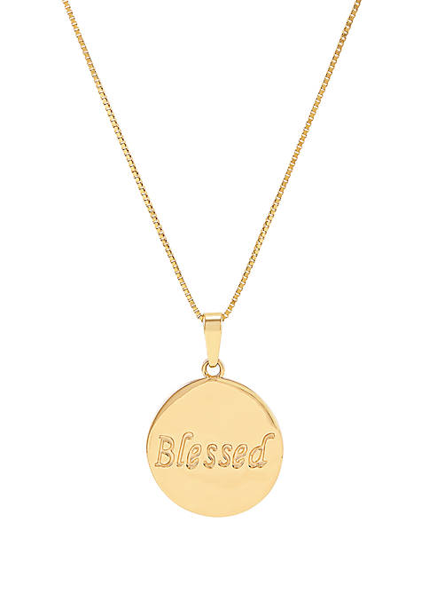 Blessed Pendant Necklace in 10k Yellow Gold