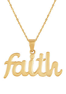 Belk & Co. Faith Pendant Necklace in 10k Yellow Gold
