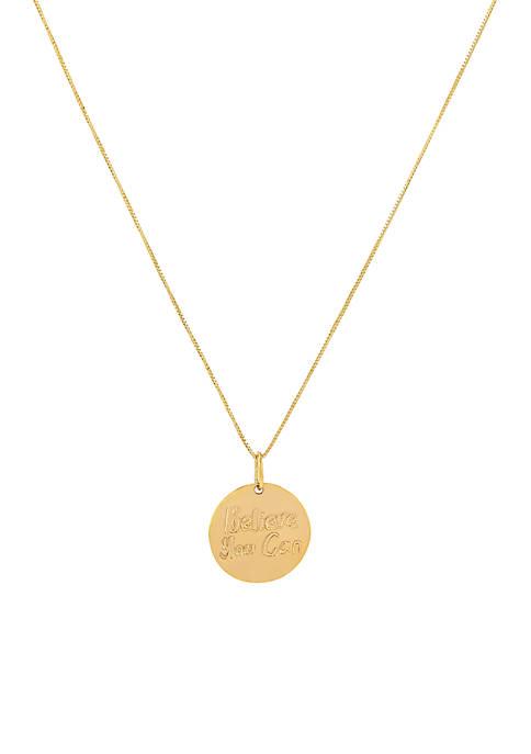 Belk & Co. Believe Disc Chain Necklace in