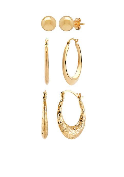 3-Piece Earring Set in 10k Yellow Gold