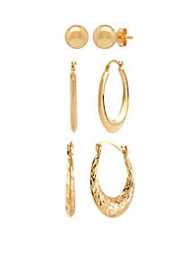 3-Piece Earring Set in 10k Yellow Gold