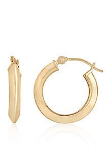Triangle Hoop Earrings in 14K Yellow Gold