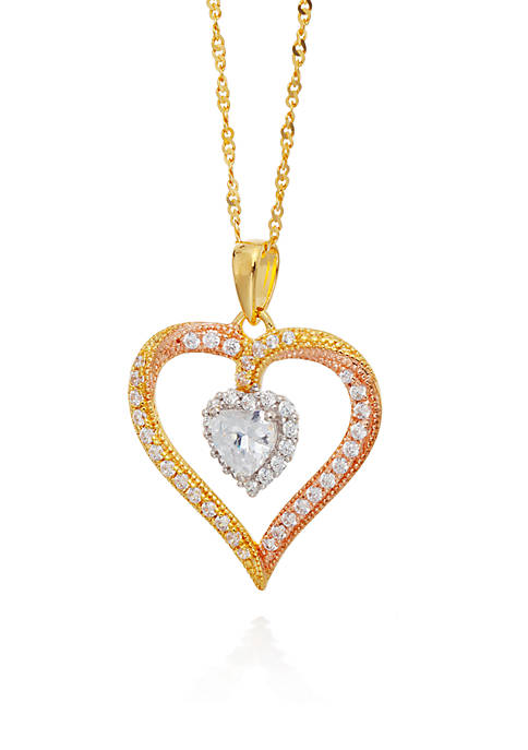 Belk & Co. Cubic Zirconia Heart Pendant in