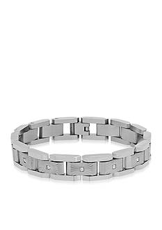 Belk & Co. Cubic Zerconia Link Bracelet in Stainless Steel