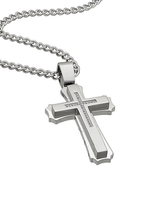 Belk & Co. Mens Stainless Steel CZ Cross