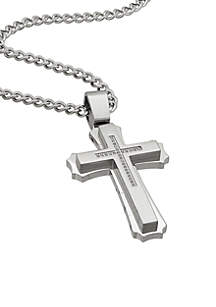 Men's Stainless Steel CZ Cross Pendant Necklace