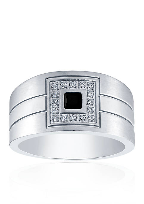 Black & White Cubic Zirconia in Stainless Steel Ring