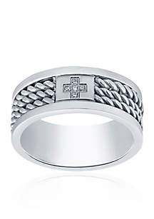 Cubic Zirconia Cross Twist Band Ring in Stainless Steel Ring