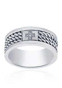 Belk & Co. Cubic Zirconia Cross Twist Band Ring in Stainless Steel Ring