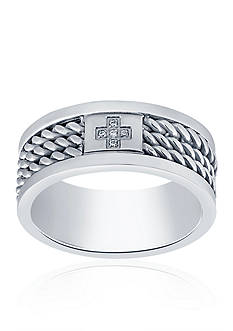 Belk & Co. Cubic Zirconia Cross Twist Band Ring in Stainless Steel Ring