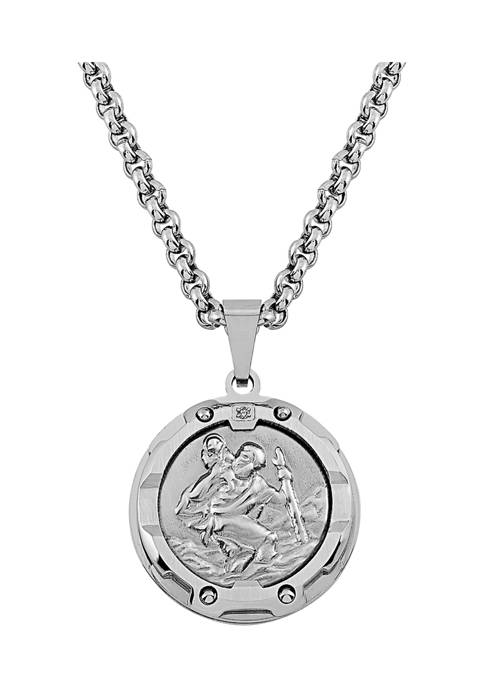 1 ct. t.w. Diamond Accent Pendant Necklace in Stainless Steel