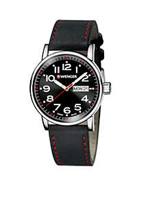 Men's Attitude Large Black and Red Watch