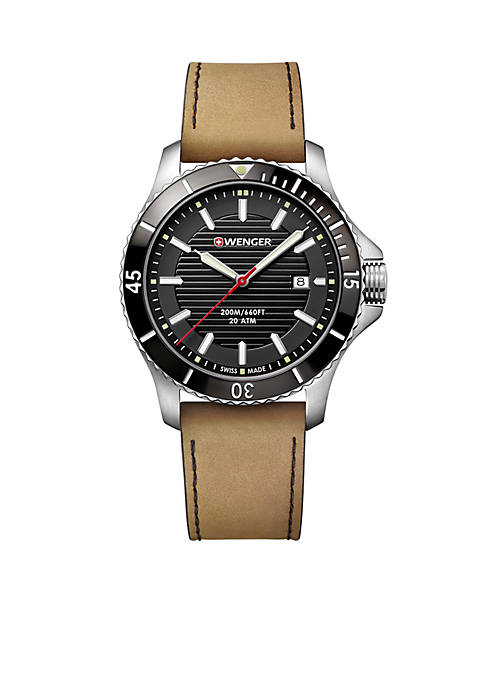 Stainless Steel Seaforce Leather Strap Watch