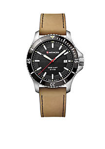 Wenger® Stainless Steel Seaforce Leather Strap Watch