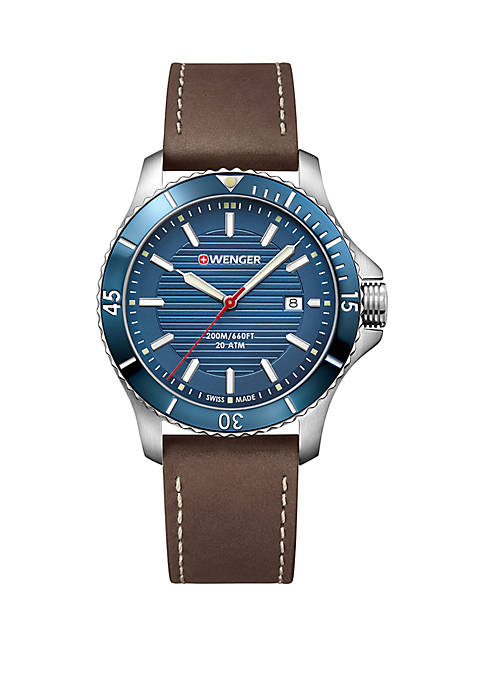 Mens Stainless Steel Seaforce Leather Strap Watch