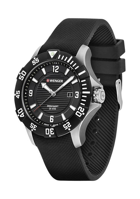 Stainless Steel Analog Watch with Rubber Band