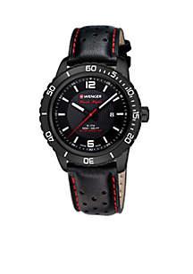 Wenger® Men's Roadster Black Night Leather Strap Swiss Watch