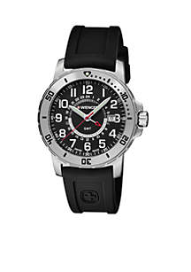 Wenger® Stainless Steel Swiss Off Road Black Silicone Strap Watch