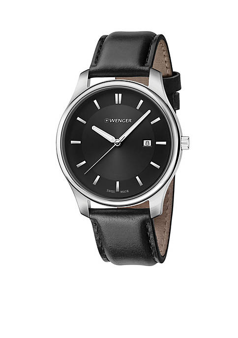 Sterling Silver Swiss with Black Leather Strap