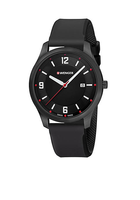Mens City Active Black Rubber Strap Watch