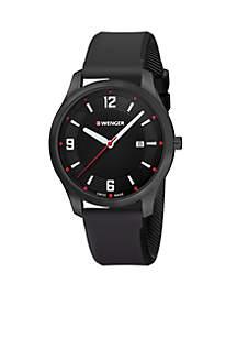 Wenger® Men's City Active Black Rubber Strap Watch