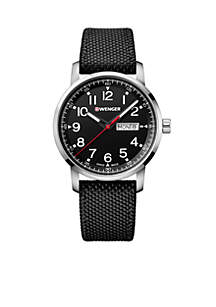 Wenger® Stainless Steel Attitude Heritage Black Dial Nylon Strap Watch