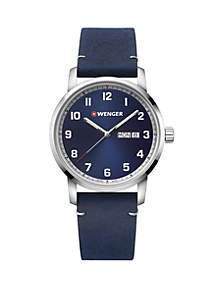 Wenger® Men's Stainless Steel Attitude Leather Strap Watch