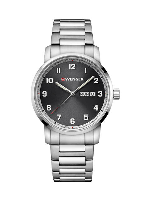 Wenger® Gray Dial Stainless Steel Bracelet Watch