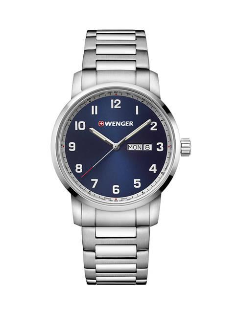 Mens Blue Dial Stainless Steel Bracelet Watch