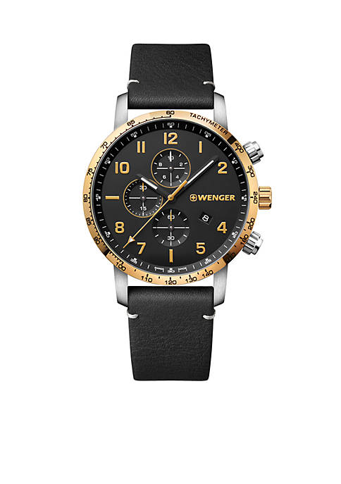 Stainless Steel Attitude Chronograph Leather Strap Watch