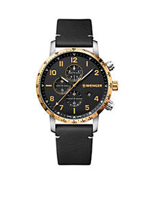 Wenger® Stainless Steel Attitude Chronograph Leather Strap Watch