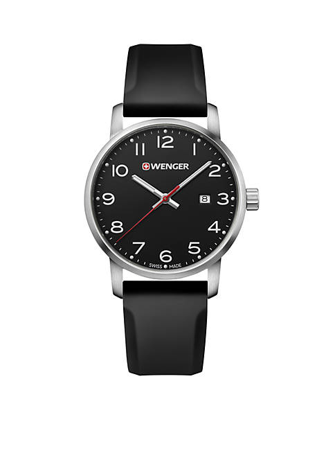 Wenger® Mens Avenue Black Leather Watch