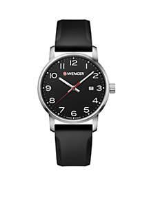 Wenger® Men's Avenue Black Leather Watch