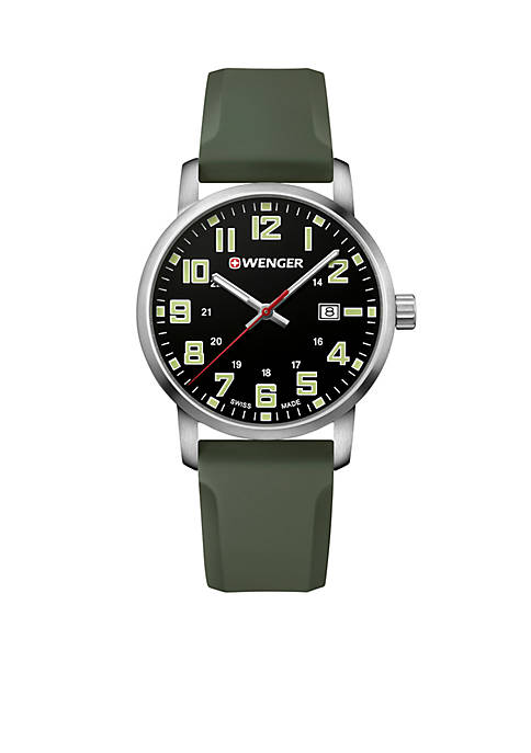Mens Stainless Steel Avenue Silicone Strap Watch