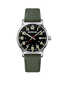 Wenger® Men's Stainless Steel Avenue Silicone Strap Watch