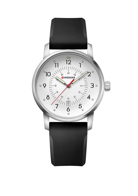 Mens White Dial Black Strap Silver Tone Watch