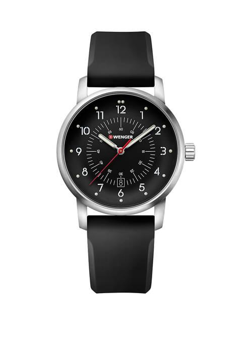 Wenger® Mens Avenue Black Dial Stainless Steel Bracelet