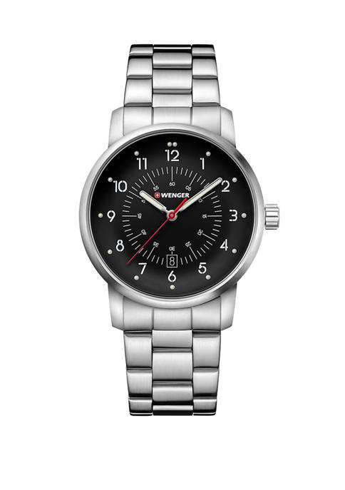 Mens Avenue Black Dial Stainless Steel Bracelet Watch