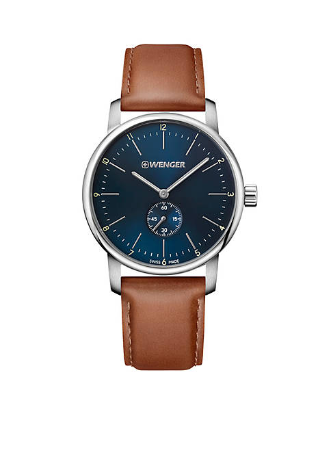 Wenger® Mens Urban Classic Blue Dial Leather Strap