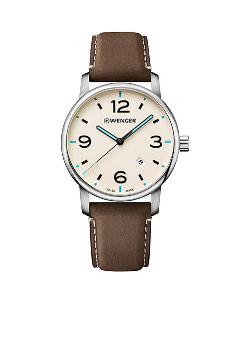 Wenger® Mens Urban Metropolitan Dial Leather Strap Watch