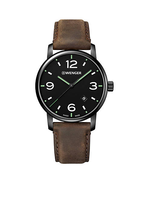 Wenger® Mens Urban Metropolitan Dial Leather Strap Watch