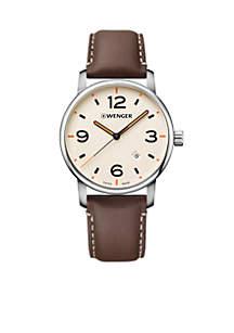 Wenger® Stainless Steel Urban Metropolitan Leather Strap Watch