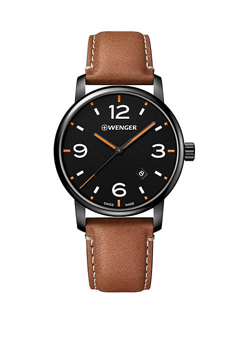 Stainless Steel Urban Metro Leather Strap Watch