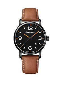 Wenger® Stainless Steel Urban Metro Leather Strap Watch