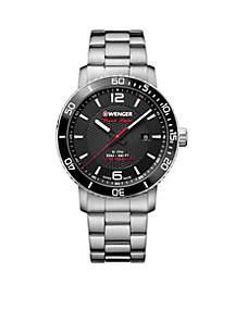 Wenger® Roadster Black Knight Sterling Silver Bracelet Watch