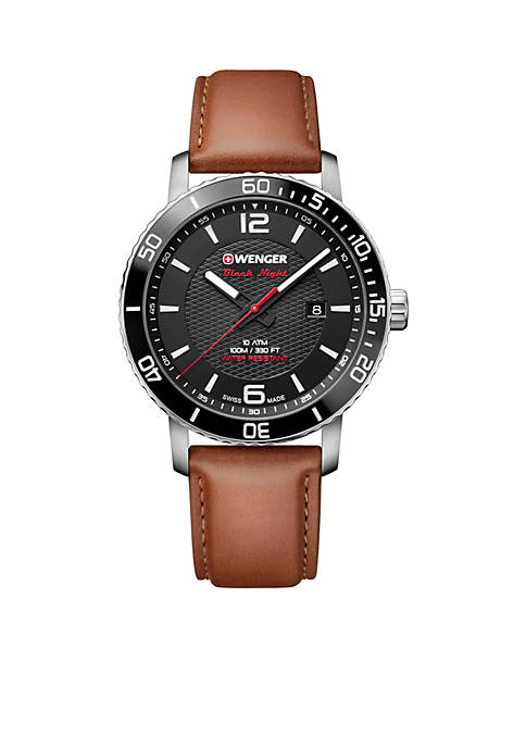 Wenger® Mens Roadster Black Night Brown Leather Watch