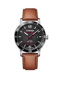 Wenger® Men's Roadster Black Night Brown Leather Watch