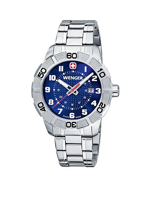 Sterling Silver Swiss Roadster Blue Watch